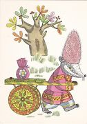 1968 Rare Folk Badger In Hat With A Cart By Golubev Russian Soviet Postcard