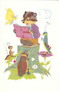 1968 Rare Badger Reading Book For Insects Old Russian Soviet Postcard