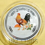 2005 Australia Lunar I Year Of The Rooster 2 Oz Bu 2 Silver Colored Coin 2