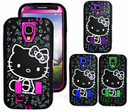 Hello Kitty 2 Layer Shock Proof 3 In 1 Front And Back Case For Samsung Galaxy S4