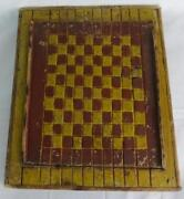 Fabulous 19th Century Primitive Hand Carved And Painted Game Board Original Paint