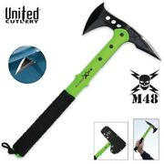 United Cutlery M48 Apocalypse Tactical Survival Tomahawk Toxic Green And Sheath