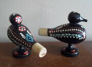2 Hand Painted Duck Call Calls Caller Bird Shaped Wood Whistles Gift