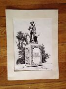 Vintage R E Kennedy Signed Art Print And039minute Man Statueand039 Concord Ma