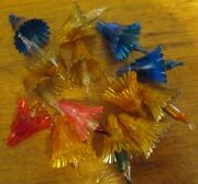 Vintage 17 Multi Color Plastic Flower And Star Christmas Light Reflector Covers
