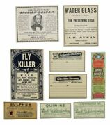 Pharmacy / Patent Medicine / Lot Of Eight Druggist / Pharmacy Labels
