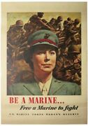Wwii Poster / Be Marine.. Free Marine To Fight U.s Marine Corps Womenand039s 1st 1943