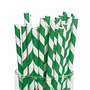 Green And White Striped Paper Straws 8 20cm Biodegradable Compostable 6mm Dia