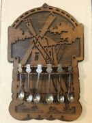 Hand Made Dutch Vintage Spoon Rack With Souvenir Spoons