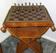 V.g Condition Vintage Chess Set W/ Leather Chessboard And Intricate Wood Stand