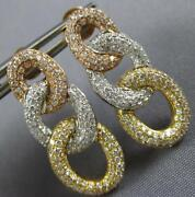 Estate Large 1.32ct Diamond 18k Tri Color Gold Love Knot Oval Hanging Earrings