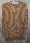 Jms Just My Size Tunic Top 4x Womens Plus Brown White Stripes Striped