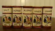 Vintage Spice Set, Set Of 5 Book-style Spice Containers Windmill Made In Japan