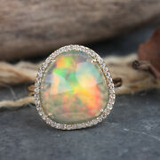 4.3 Ct Opal Cocktail Ring 14k Yellow Gold Pure Pave Diamond Handmade Jewelry New