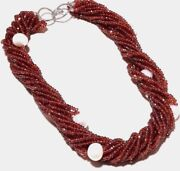 Sterling Silver Sparkle Garnet,freshwater Baroque Pearl Choker Jewelry Necklace