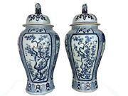 Mansion Size Chinoiserie B And W Porcelain Ginger Jars - A Pair 35.5 H