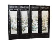 Chinese Set Of 4 Hand Painted Famille Rose Porcelain Panels 20 W X 67.5 H