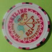 1996 Skyline Casino Henderson, Nv. 5.00 Valentine's Chip Great For Collection