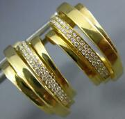 Estate Wide .26ct Diamond 18kt Yellow Gold 3d Multi Row Clip On Hanging Earrings
