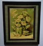 1947 Still Life Oil Painting Queen Ann's Lace In Decanter By James Williams