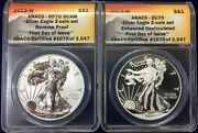 2013w Silver Eagle 2 Coin Set Anacs Certified Eu70 And Rp70first Day Of Issue
