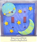 Decorative Bas Relief Switchplate Cover Twinkle Moon Stars New Hardware Included