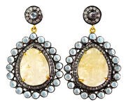 Carved Sapphire Gemstone .925 Silver Pave Diamond Dangle Earrings Moonstone Gold