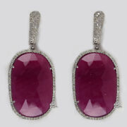 1.98ct. Diamond Pave Dangle Earrings Ruby Solid 925 Sterling Silver Jewelry