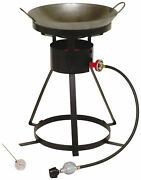 Portable Outdoor Cooker Propane Burner Camping Patio Gas Stove Heavy Duty W/ Wok
