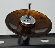 Single Handle Copper Glass Plate Waterfall Lavatory Faucet Chrome Signature Hdw