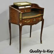 Antique French Louis Xv Small Inlaid Petite Demilune Writing Desk Made In France