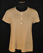 Chic Sunner Anthropologie Beige Baby Doll Knit Button Pockets Shirt Top Blouse S