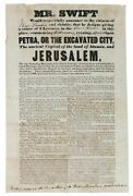 Advertising Broadside / Petra Or The Excavated City The Ancient Capital 1st 1841