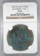 1990 Poland Solidarity 100000 Zloty Pf-66 Ngc Certified Great Color