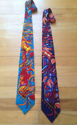 Rush Limbaugh Silk Ties - Matching Set Teal And Blue With Flowers Euc