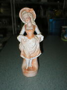 Vintage Ceramic Colonial Woman Figurine Victorian Peach Dress Gold Ball Accents