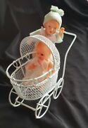 Lot Of 2 Miniature Antique Babies For Barbie, Bjd Or Doll House 3 Inch + Babycar