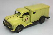 Vintage 1950's Gama Ambulance Truck Friction Tin Toy, Made In Germany