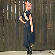 Vintage Black Sequin Dress- Great Gatsby Party- Flapper Outfit- Sequined Dress
