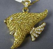 Large 2.08ct White And Fancy Yellow Diamond 18kt Yellow Gold 3d Lucky Fish Pendant