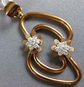 Estate Large .45ct Diamond 18kt White And Rose Gold 3d Double Flower Fun Pendant