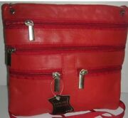 12 Piece Paul Walter Cross Body Leather Bags7and039and039x7and039and039 With Multiple Zip Enclosure