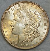 1921 Morgan Silver Dollar Soft Glow Great Luster Unc Free Shipping 76120