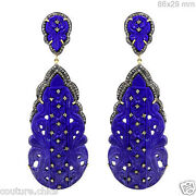 Lapis Gemstone Carved .925 Silver Dangle Drop Earrings 14k Gold 2ct Diamond Pave