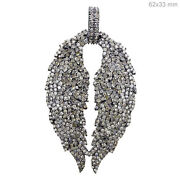 Couturechics 925 Sterling Silver 5.94ct Diamond Studded Angel Wings Long Pendant