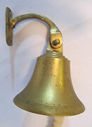 Vtg Brass 3.7 Shipand039s Bell Yacht Boat Decor Made In India Nautical Clanger Cord