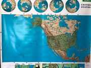 Pull Down School Maps 1 Layer U.s. Vintage Salvage Old Antique.