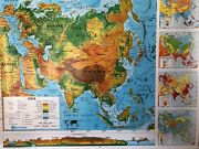 Pull Down School Maps 2 Layer Asia. Vintage Salvage Old Antique.