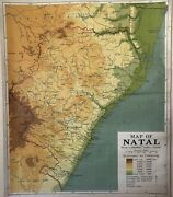 Vintage Pull Down Map Cloth 1 Layer Of Natal Vintage, Salvage, Antique.