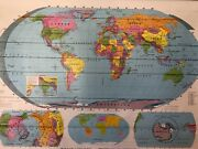 Pull Down School Map Of Simplified World, Vintage, Salvage, Old, Antique.